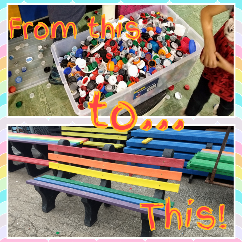 From this to this, plastic lids and caps then a rainbow bench.
