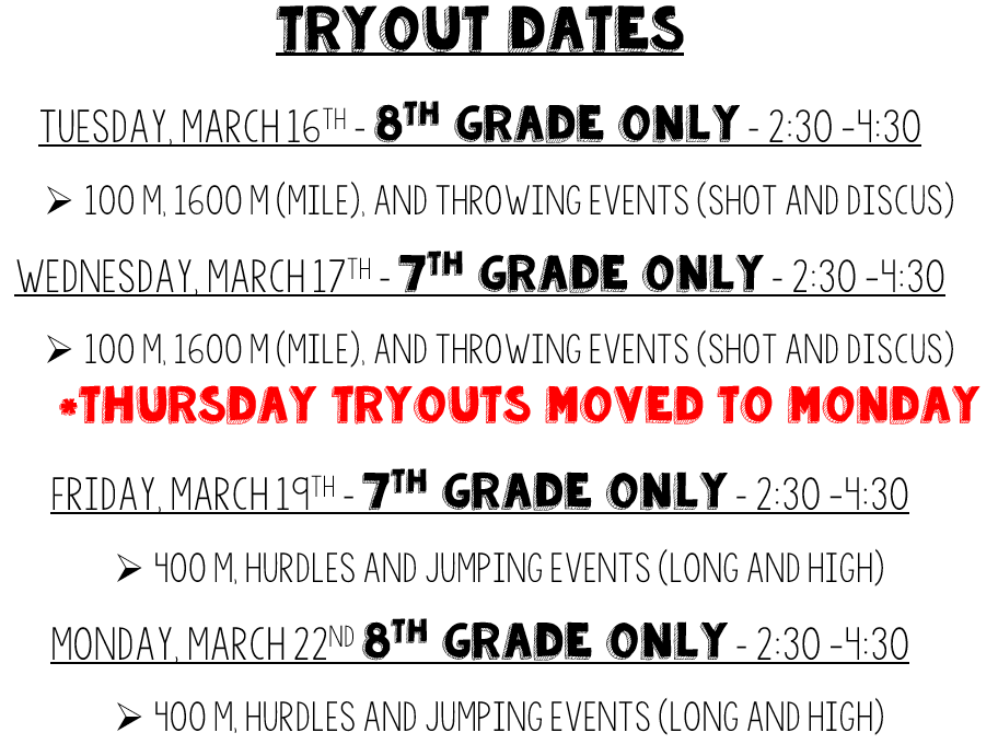 Updated Track Tryouts 3/17