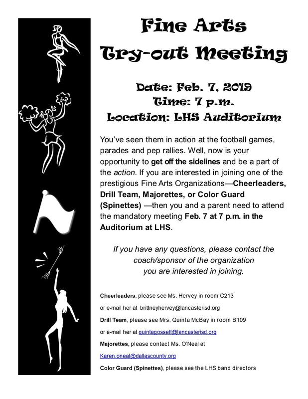 Fine Arts Try Outs Meeting