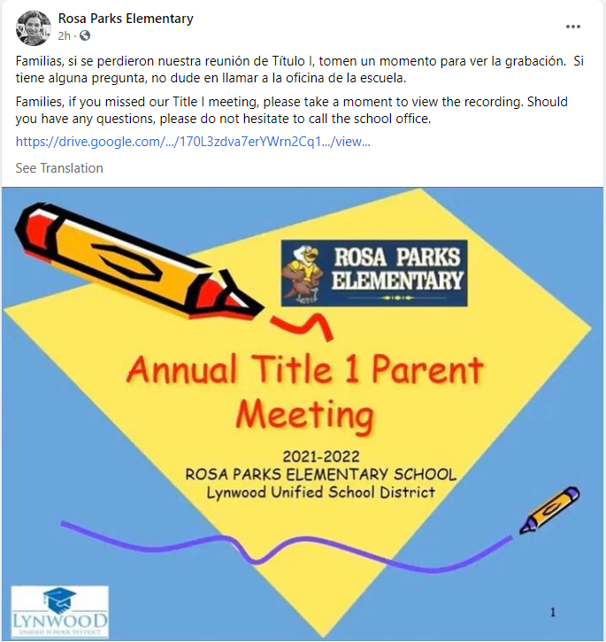 If you missed our Annual Title I Parent Meeting / Si se perdieron nuestra reunión de Título I, Featured Photo