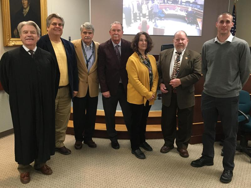 The Honorable Charles Conway administered the Oath of Office to the newly elected FR School Directors: Mr. Ed Mittereder, Mr. Herb Yingling, Mr. Gary English, Mrs. Debra Wohlin, Mr. Bill Yant, and Mr. Scott Weinman at the Reorganization Meeting of the Franklin Regional School Board on December 5, 2019. Officers of the Board for 2019-20 are Mr. Yingling, President, Mr. Paul Scheinert, Vice President, and Mr. Scott Weinman, treasurer