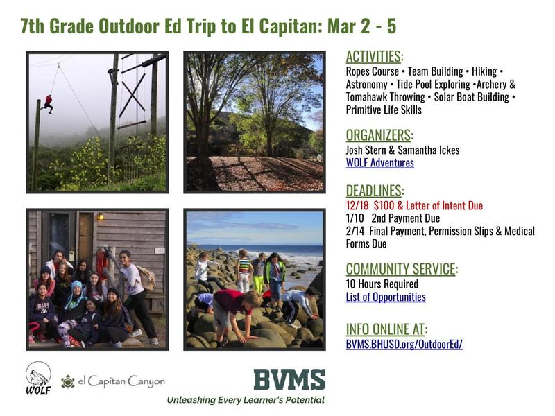 7th Grade Outdoor Ed Trip to El Capitan Info Session Details Featured Photo