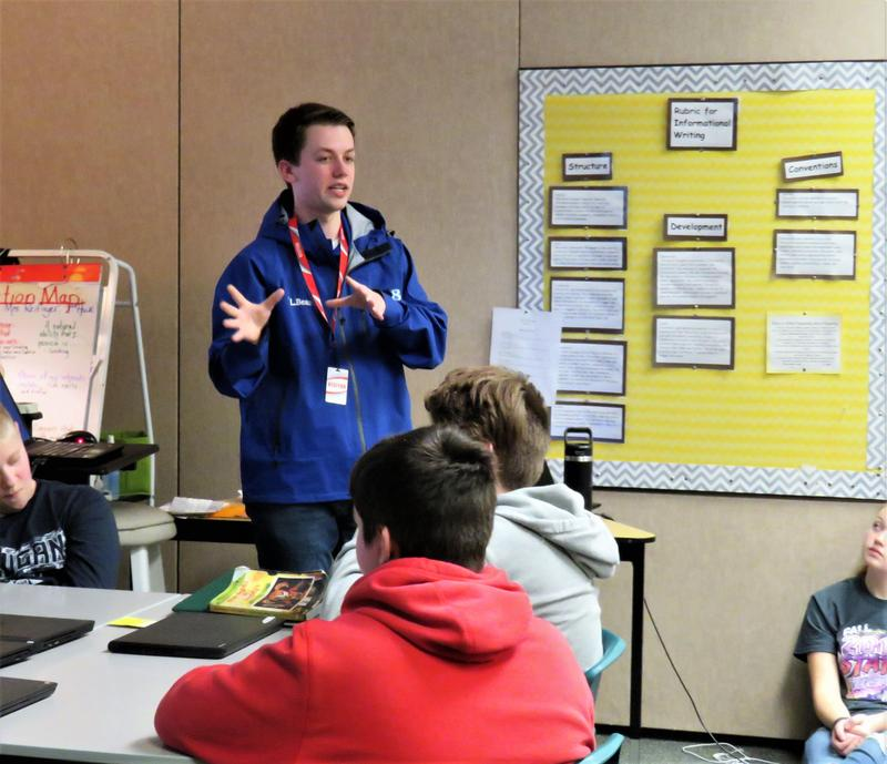 Blake Harms talks to 7th graders about his budding career as a meteorologist.