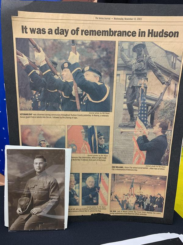 Jersey Journal Article dated Wednesday November 12th, 2003 and a photo of a WW1 Vet