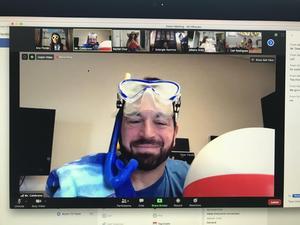Principal Celebrano in Beach Gear with goggles