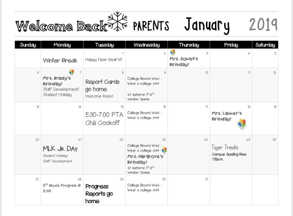 January Calendar for Parents
