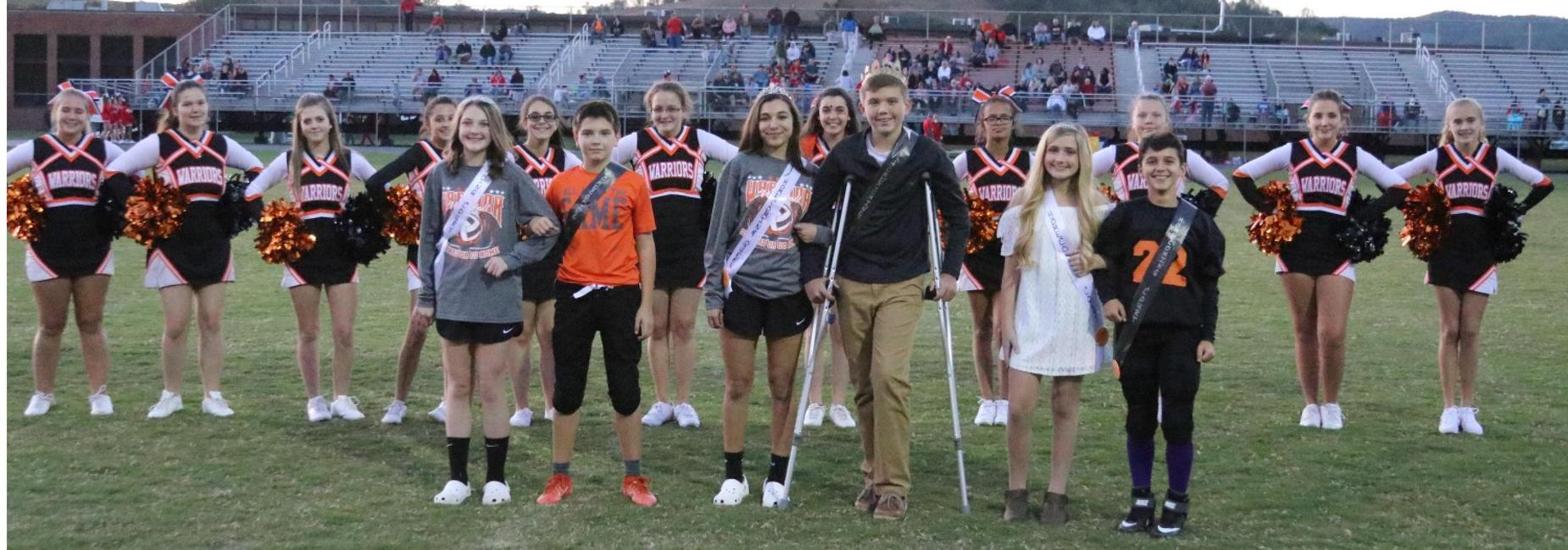 CMS homecoming court at the football game