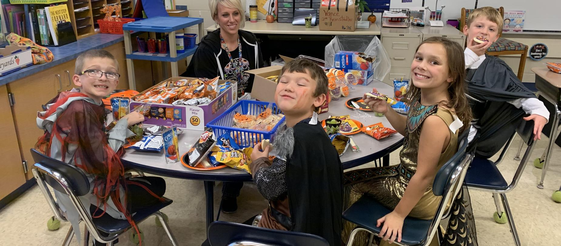 students enjoying treats
