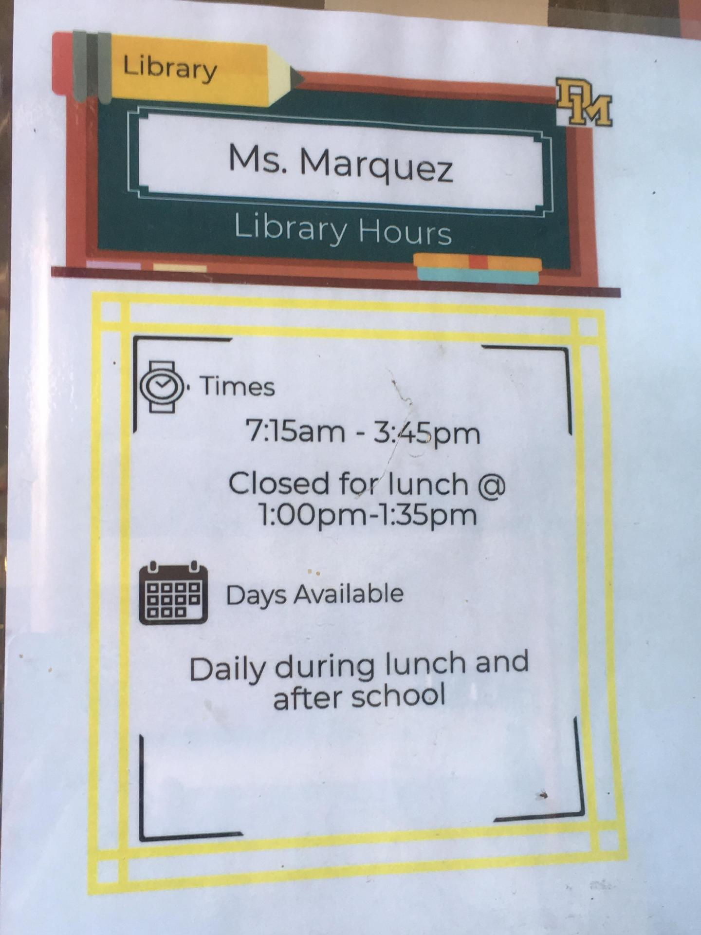 Image of Library Hours of Operation