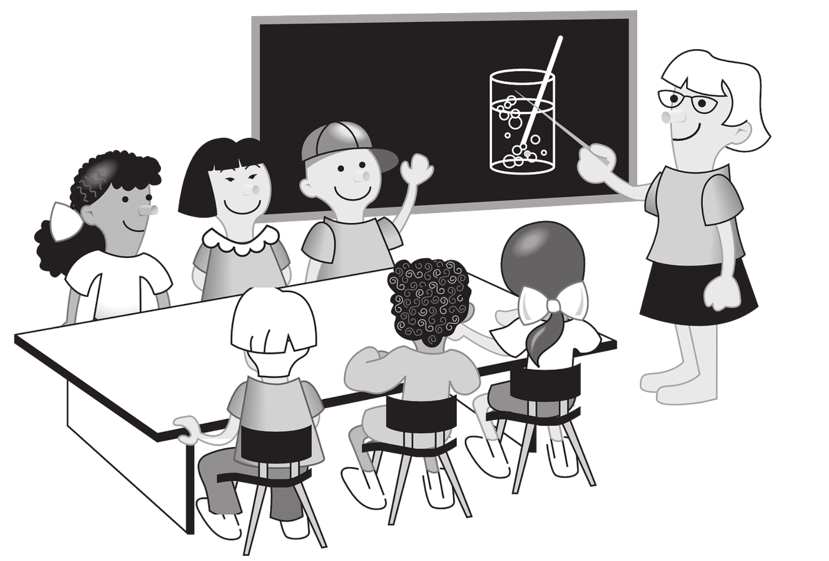 Clipart of teacher standing at black board pointing to content with students sitting around a table.