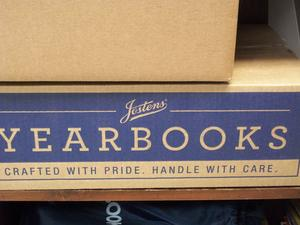 A box of yearbooks.
