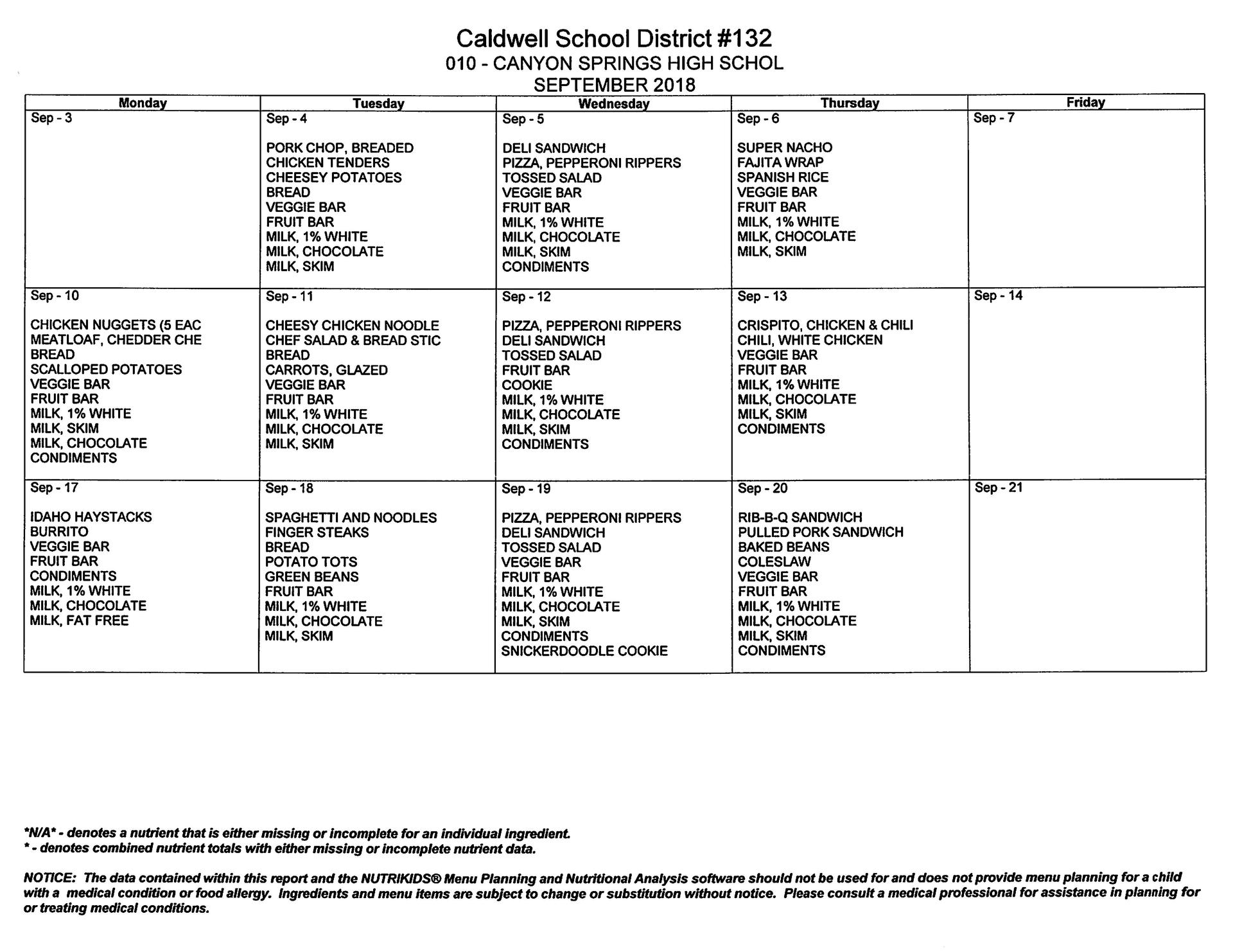 2018 September Lunch Menu Calendar format