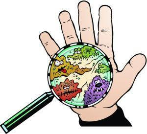clipart image of hand with germs