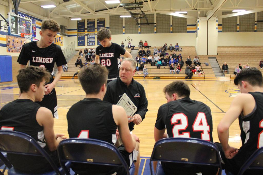 Basketball coach with clipboard talking to four seated and two standing players