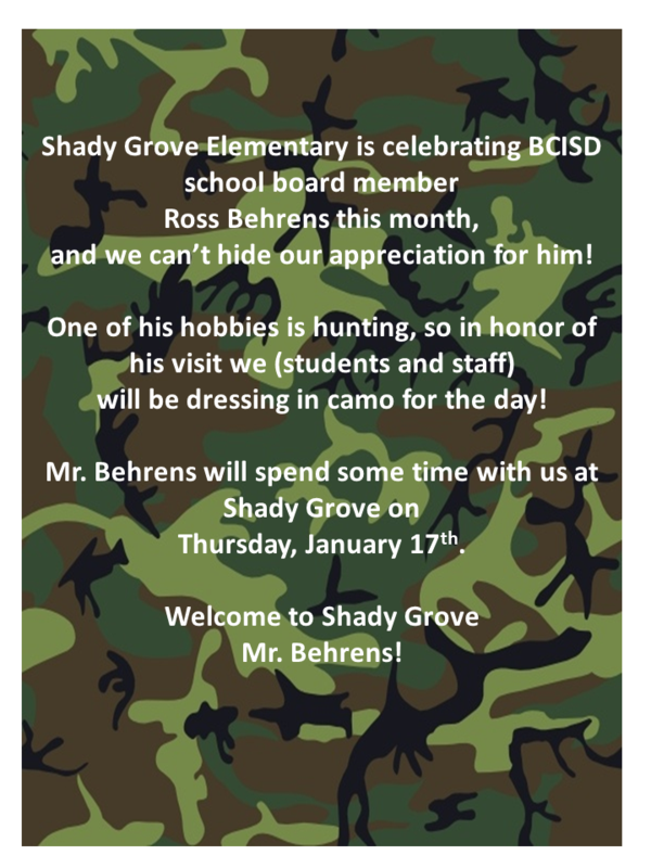 Wear CAMO January 17th - in Honor of School Board Member Ross Behrens! Thumbnail Image