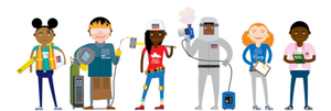 People dressed up in various professions: a construction worker, a welder, another construction worker, a bug exterminator, an engineer, and a teacher.