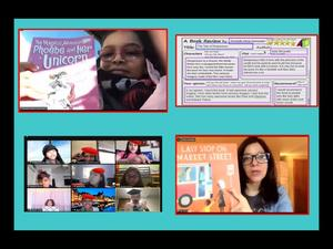 2 girls showing books and zoom class collage