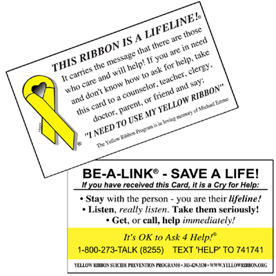 Yellow Ribbon Help Card