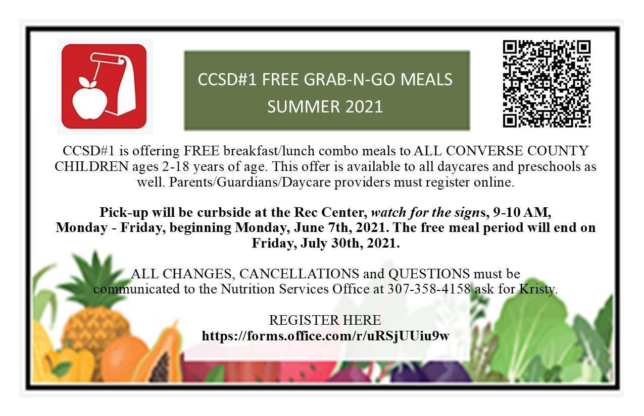 FREE Grad N Go Meals Summer Registration 2021