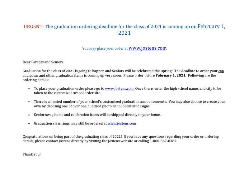 Graduation Ordering Deadline Feb. 1st, 2021