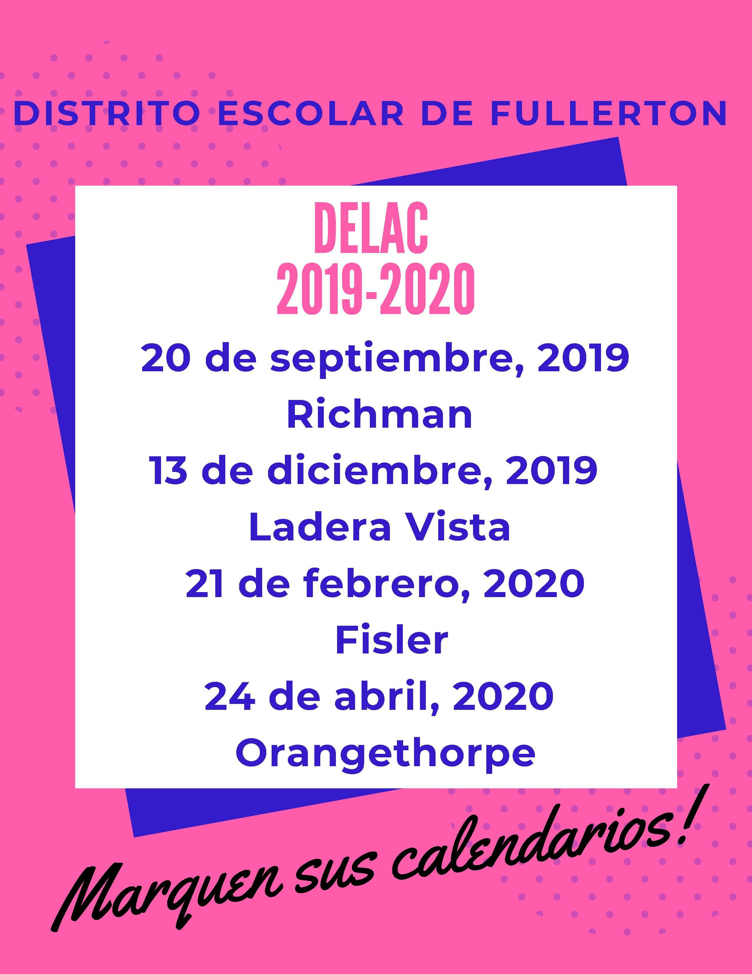 DELAC Dates 19-20 Spanish Flyer
