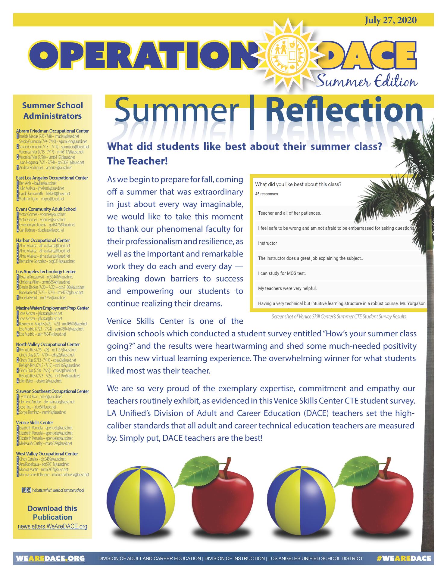 DACE Summer Newsletter - July 27, 2020 Thumbnail
