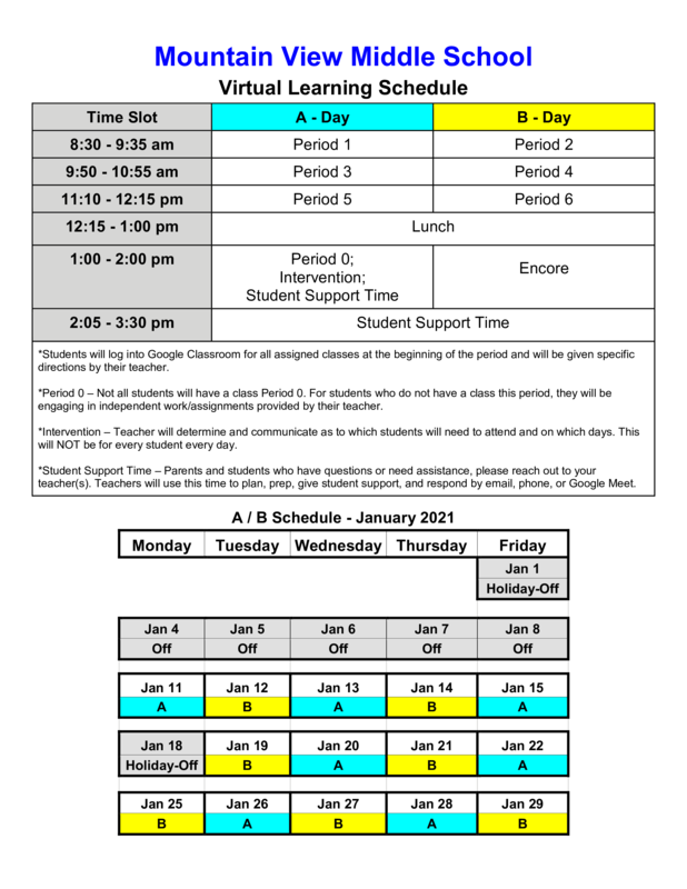 January Virtual Learning Schedule Featured Photo