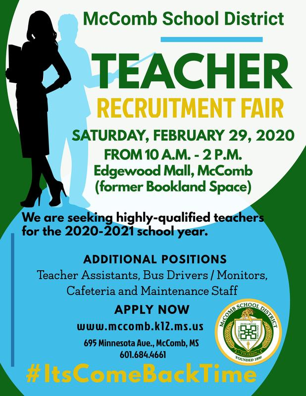 McComb School District Teacher Recruitment Fair 2020