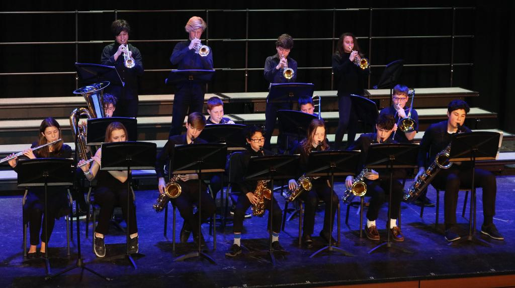 Photo of Roosevelt Jazz Band performing at Black History Month assembly.