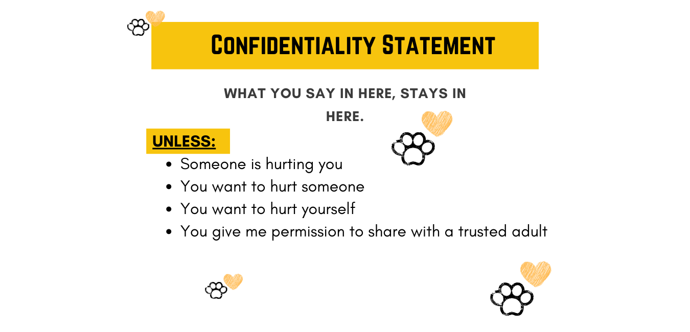 Confidentiality Statement: What you say in here, stays in here. Unless - someone is hurting you, you want to hurt someone, you want to hurt yourself, you give me permission to share with a trusted adult.