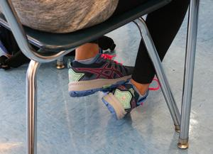 Photo of colorful sneakers, as Edison students and staff