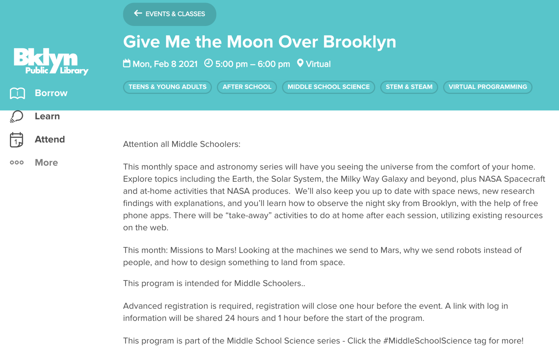 Give Me the Moon Over Brooklyn  Mon, Feb 8 2021    5:00 pm – 6:00 pm    Virtual