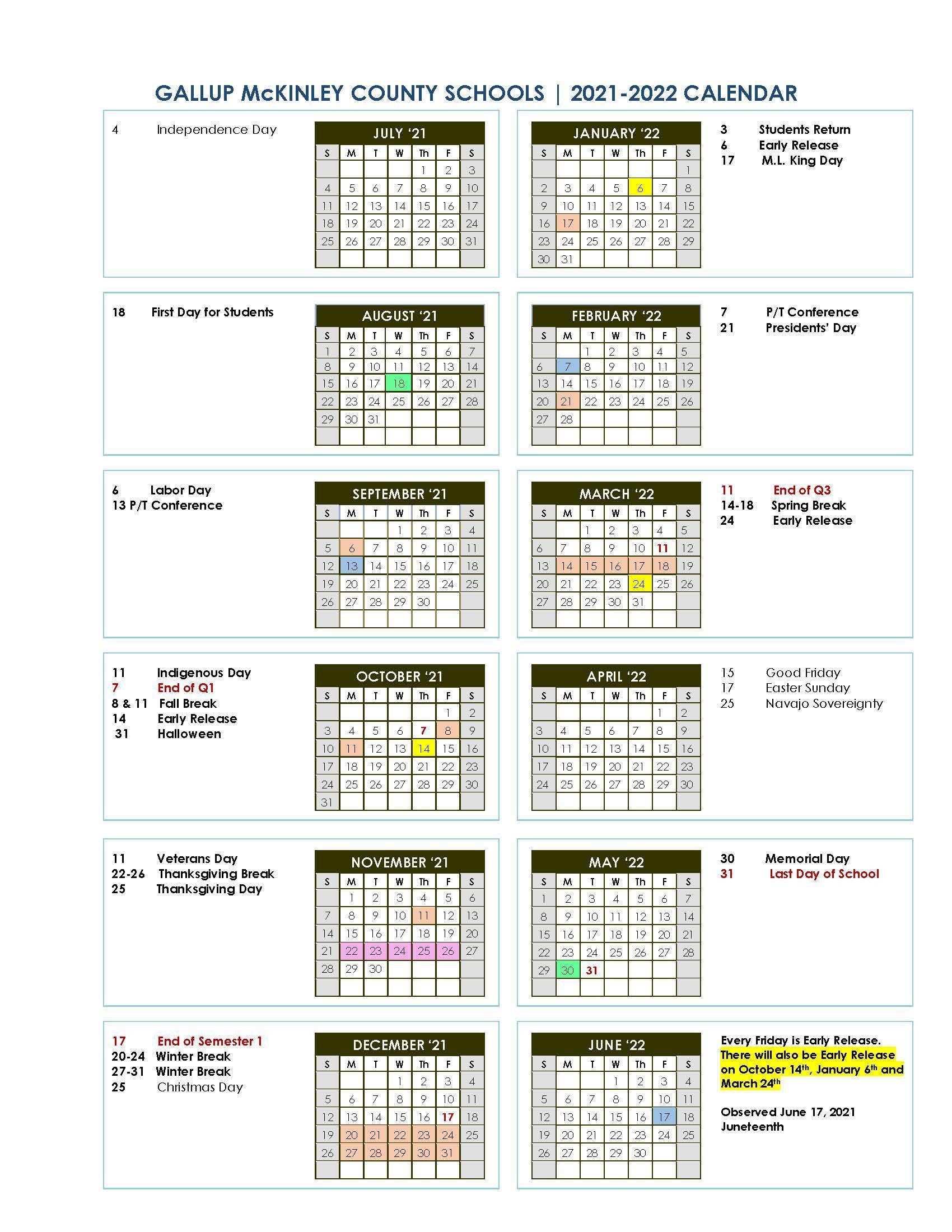 2021/22 School Year Calendar