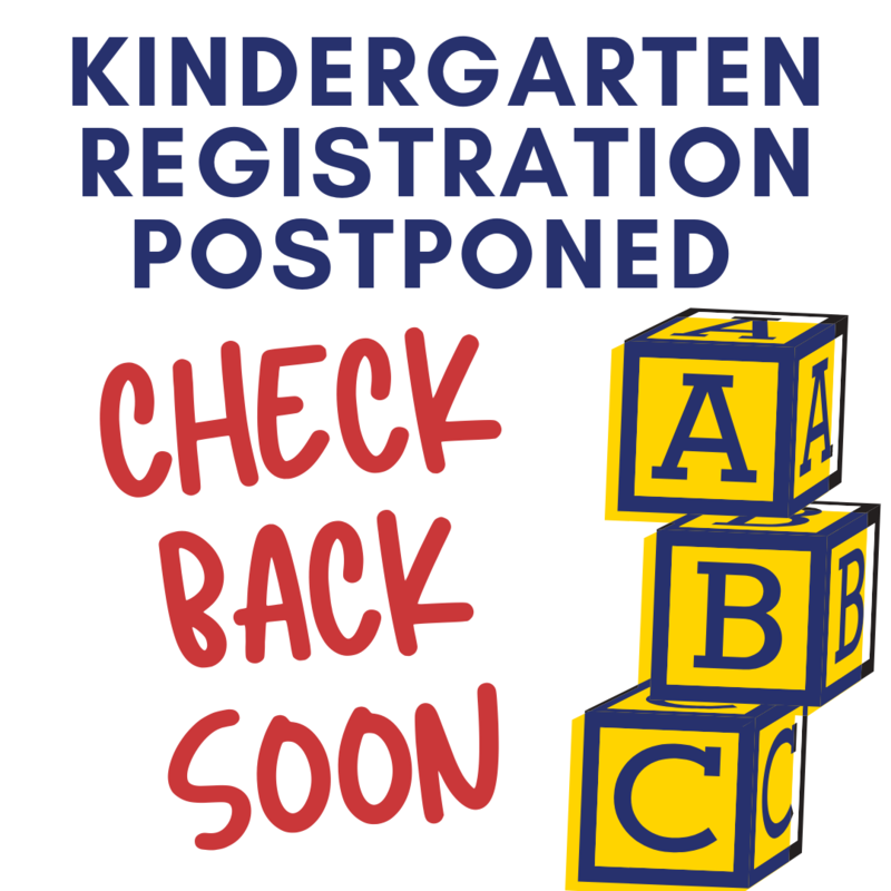 Kindergarten Registration Postponed. Check back soon with yellow and blue alphabet blocks.