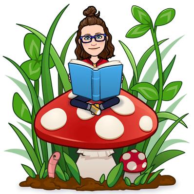 Image of a cartoon Miss Alexa reading on a large mushroom in a garden