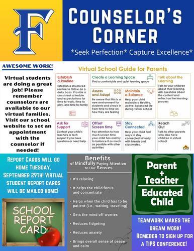Counselor's Corner Newsletter for 09/25/2020