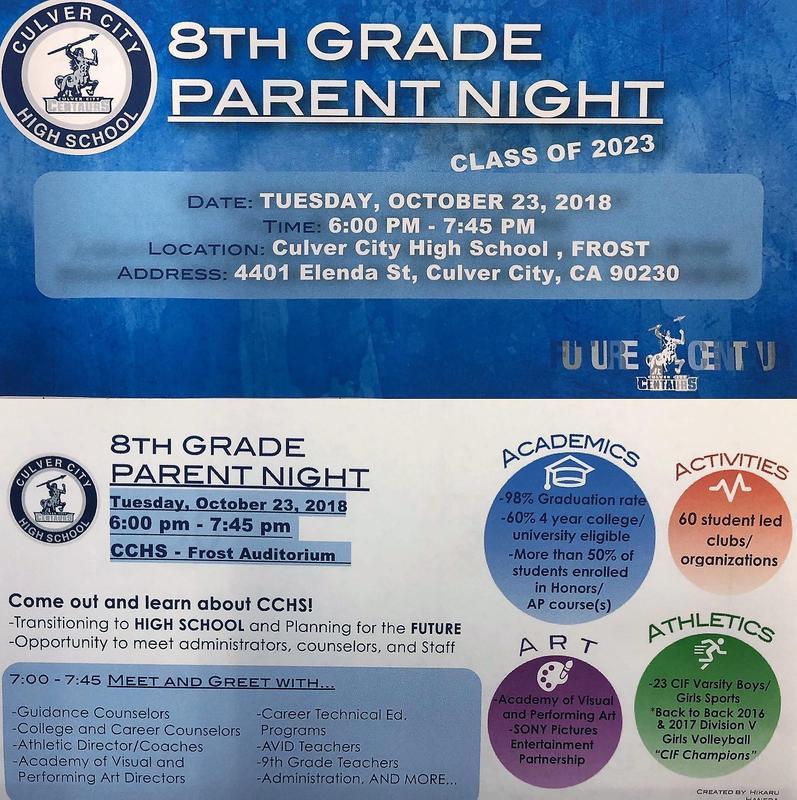 8th Grade Parent Night at CCHS Thumbnail Image