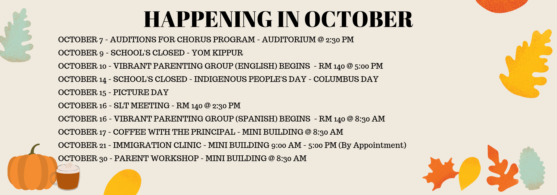 OCTOBER EVENTS ENGLISH