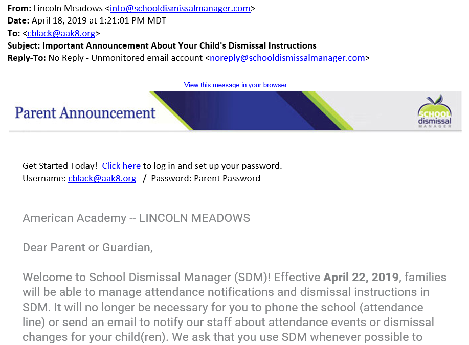 Clip of a letter to parents with School Dimissal Manager logo