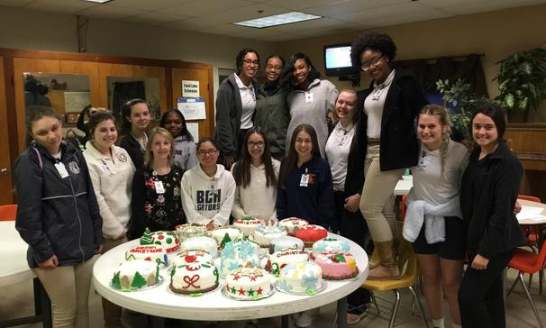 Students in Mrs. J. Hebert's Advanced Nutrition and Foods class made Fondant Christmas Cakes.