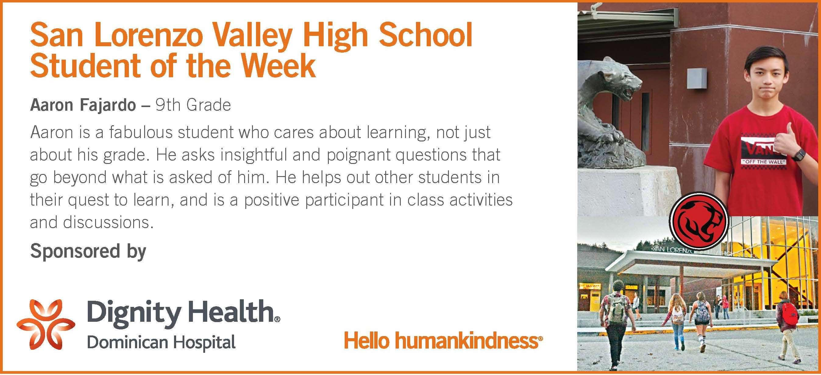 slvhs student of the week: aaron fajardo - 9th grade