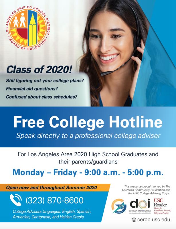 Attention 2020 High School Graduates: Free College Hotline