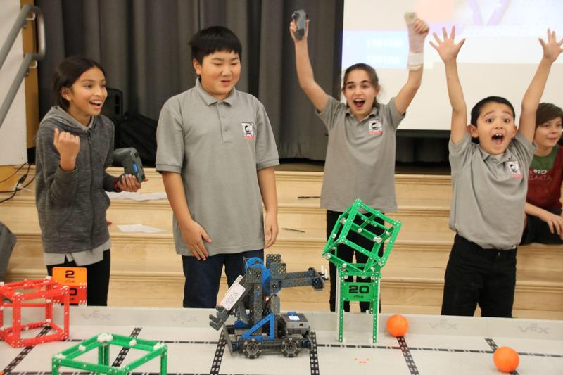 Excited students from the Vex IQ tournament