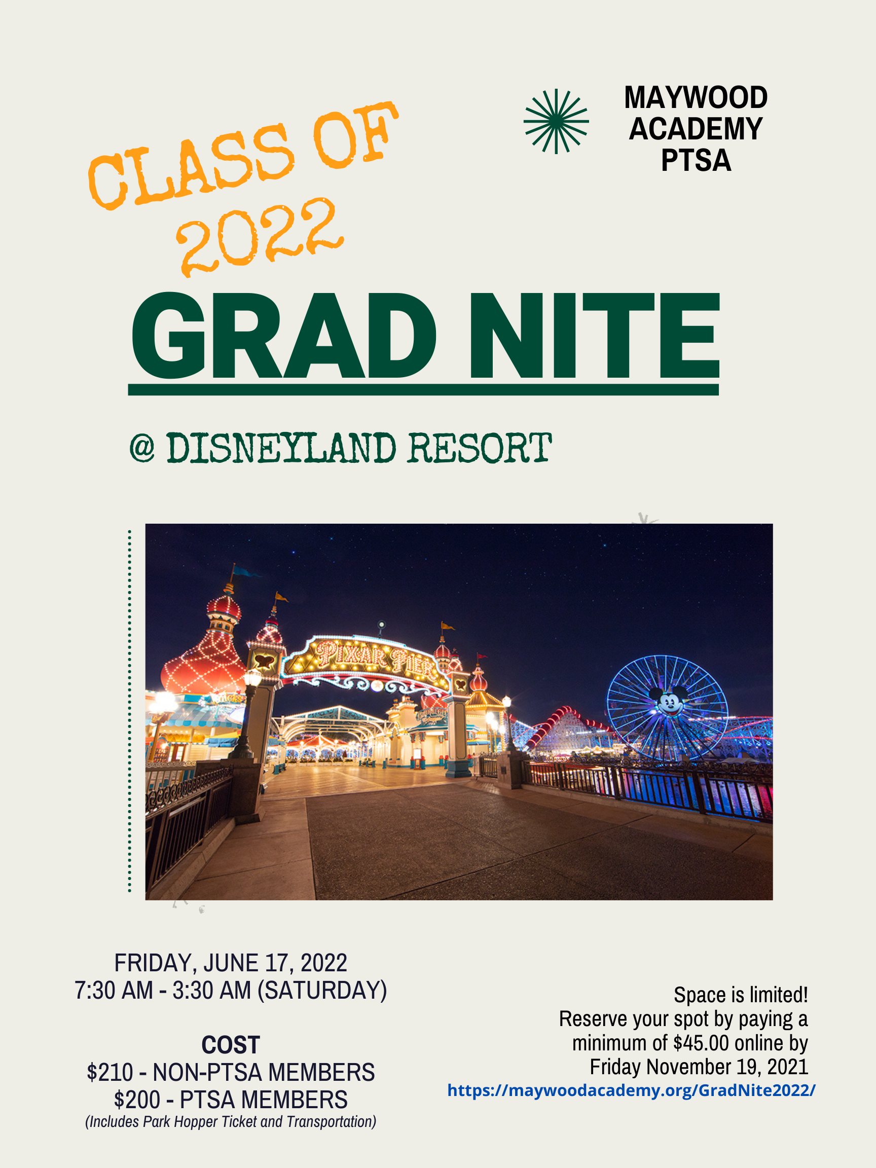 Grad Nite Flyer with Pixar Pier Picture