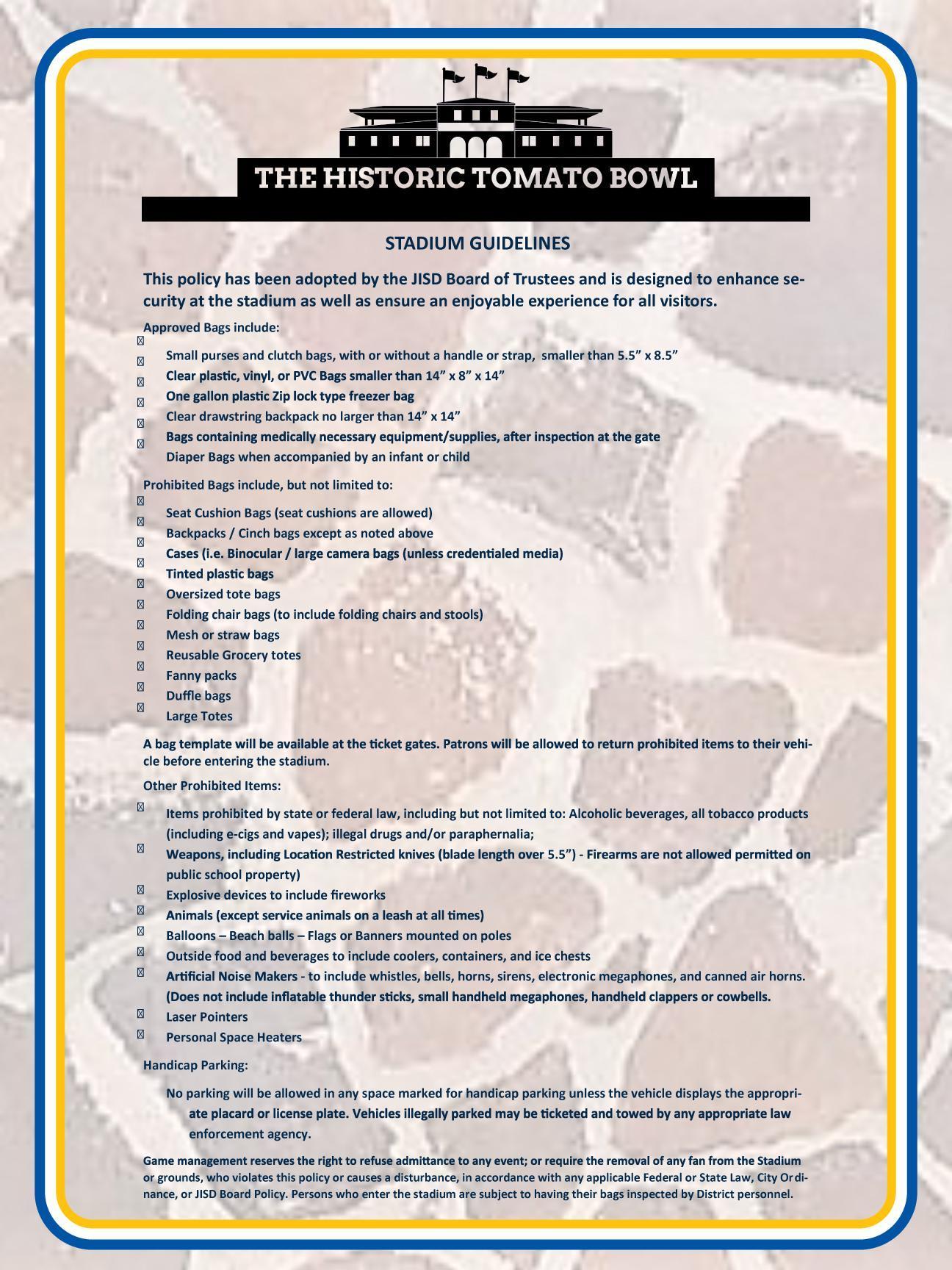 TB Stadium Guidelines