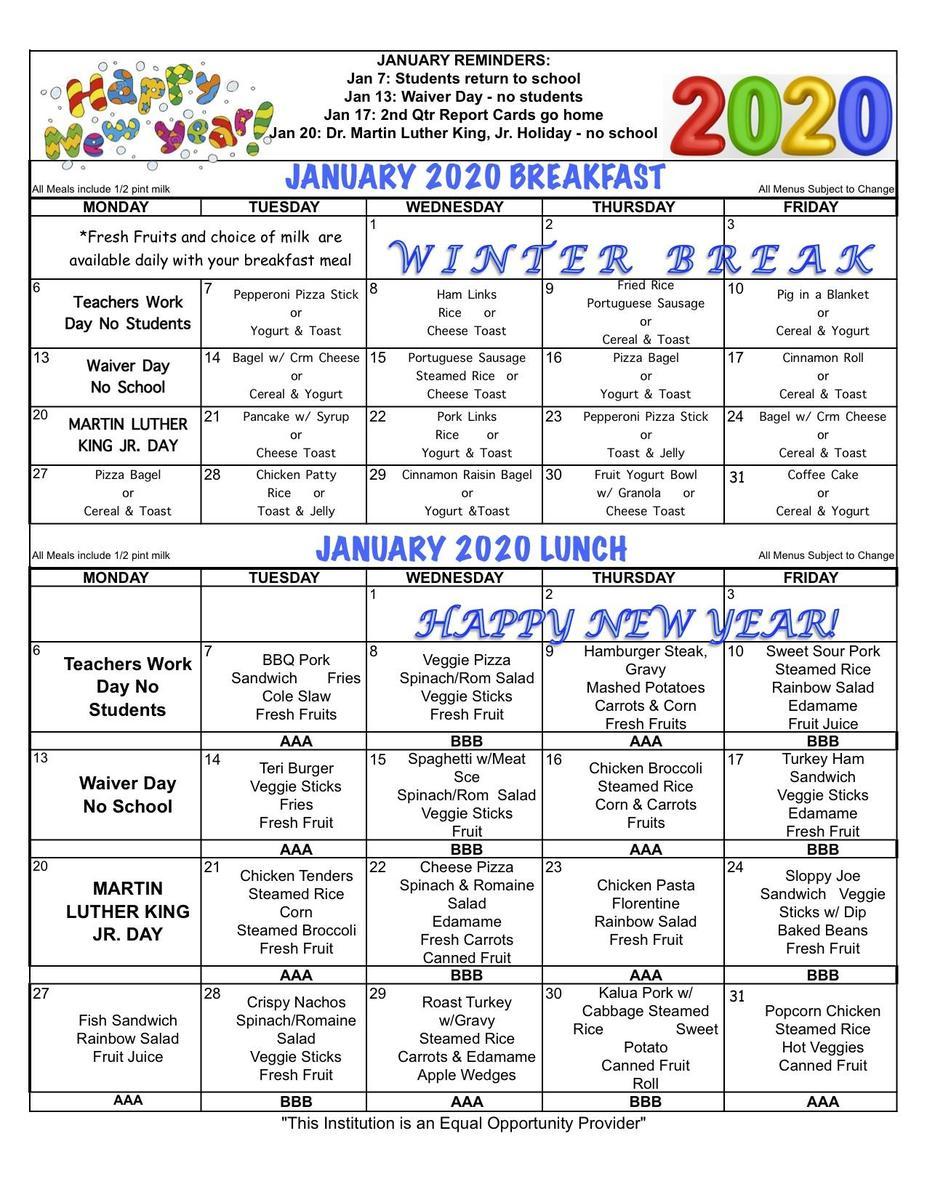 January 2020 Menu