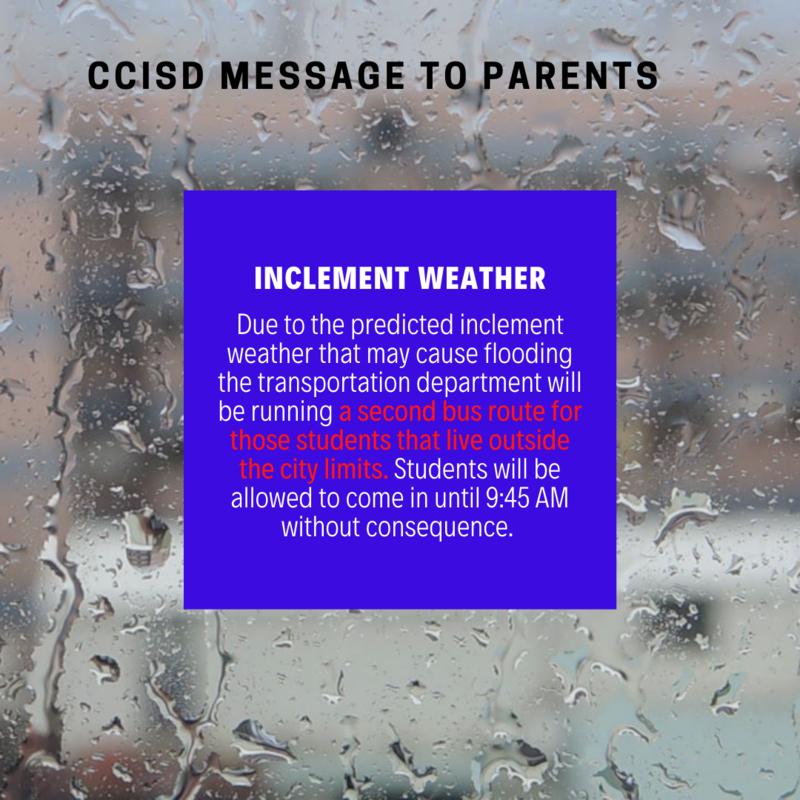 Inclement Weather CCISD Announcement