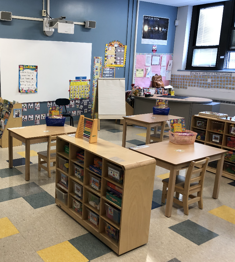 Corner of classroom with teacher's desk