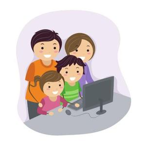A mom and dad looking at a computer with their son and daughter.