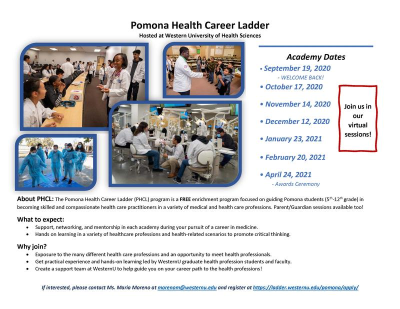 Pomona Health Career Ladder, Join us Sept 19, 2020 at 9:30 am Featured Photo